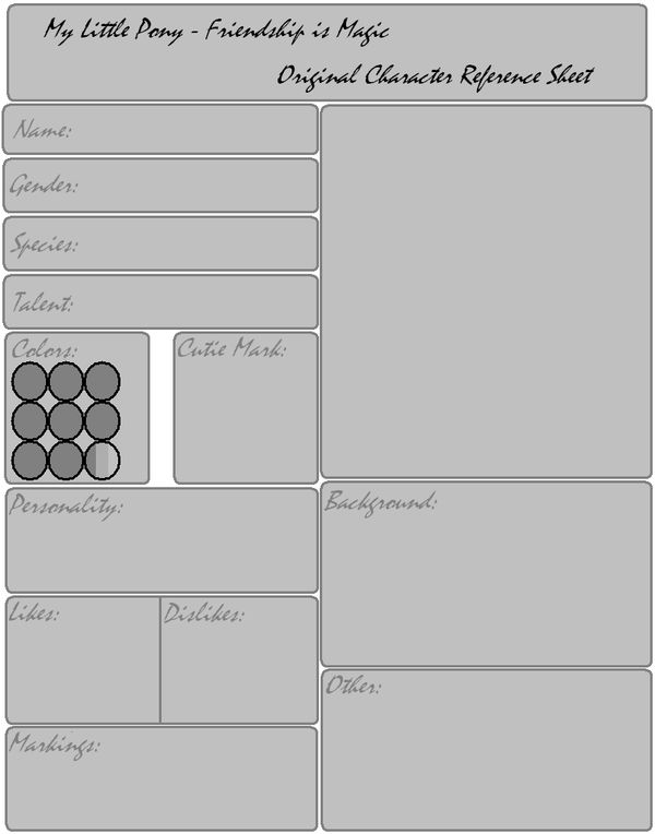 MLP OC Reference Sheet Template by Fangirl-For-Fun on DeviantArt