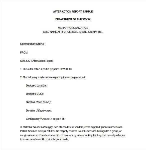 After Action Report Template  After Action Report Templates Free