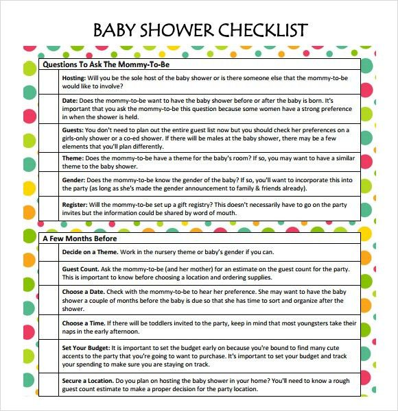 Sample Baby Shower Checklist   9+ Documents In Word, PDF