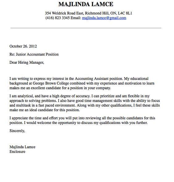 Accounting Cover Letter An Accounting Cover Letter is supplied ...