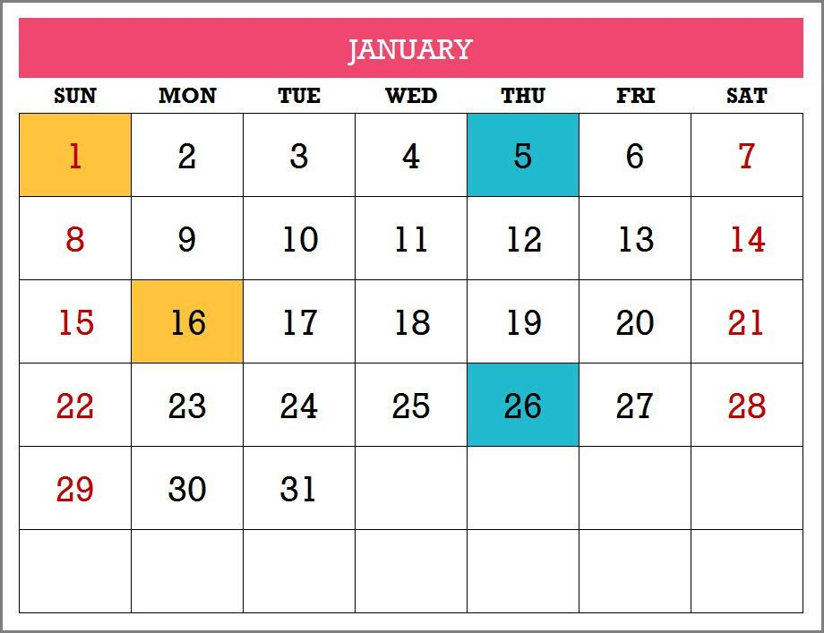 2017 Calendar Template - 17 Calendar Designs in Excel - Free Download