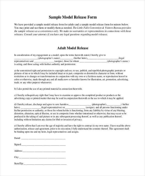 Sample Print Release Form Example] Sample Print Release Form 8 ...