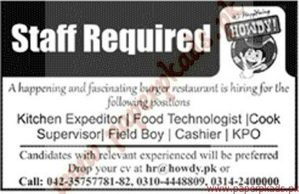 Kitchen Expeditor, Food Technologist, Cook Supervisor and Other ...