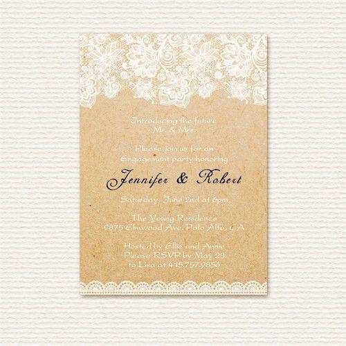 elegant lace printed rustic custom engagement party invitations ...