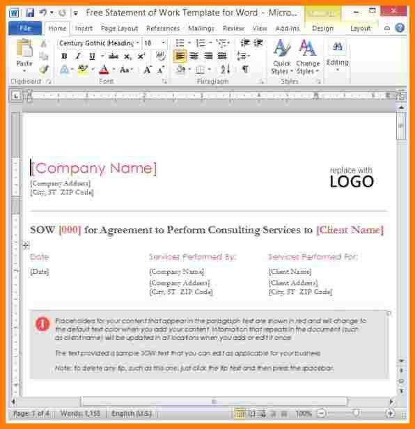 3+ statement of work template word | letter format for