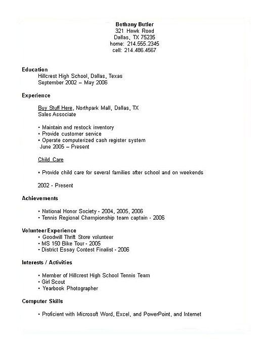 high school student resume examples resume for high school ...