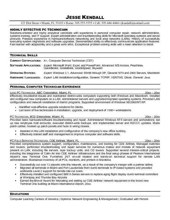 Resume Sample Entry Level Computer Technician - Augustais