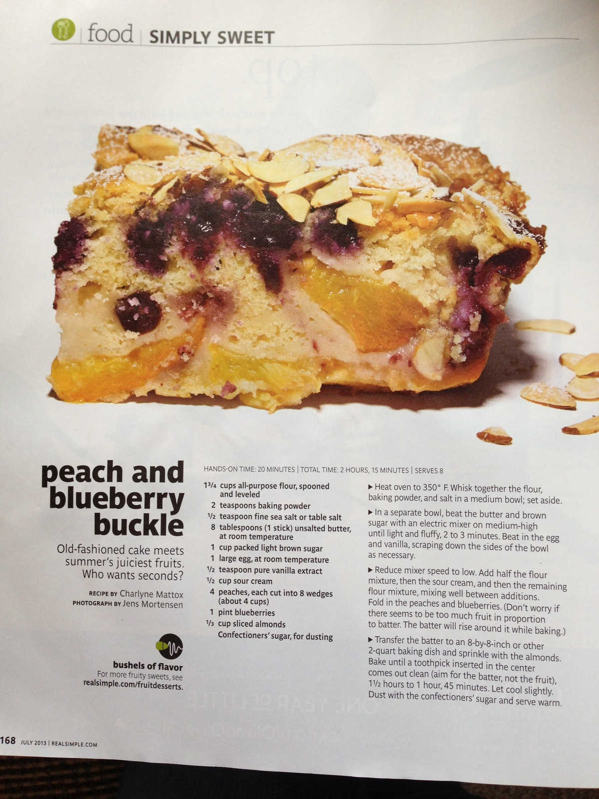 ... Peach Blueberry Blueberry Buckle Simple Peach Real Simple Simple July