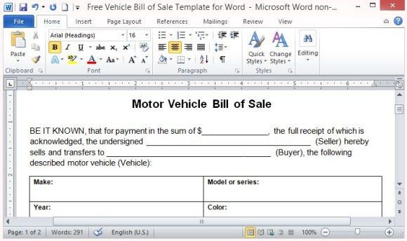 Automobile Bill Of Sale Template Word - Free Download!!