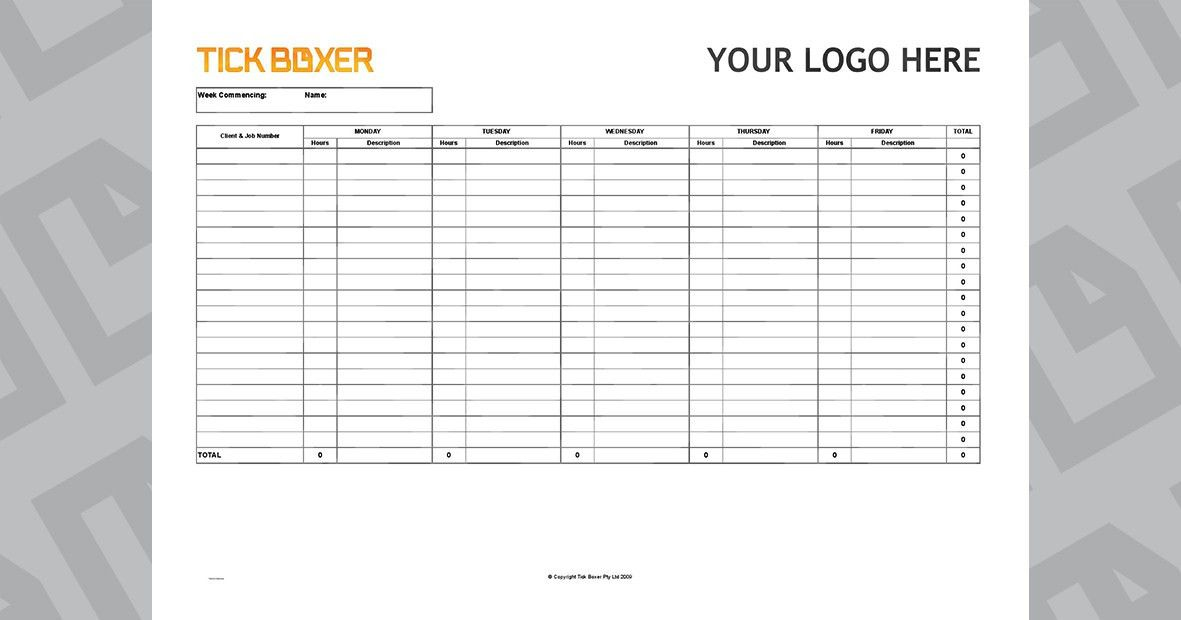 Ad Agency Timesheet Template - Free download   Tick Boxer