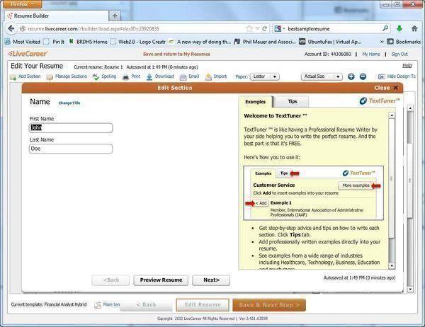 Build a high quality free resume with LiveCareer.com's free resume ...
