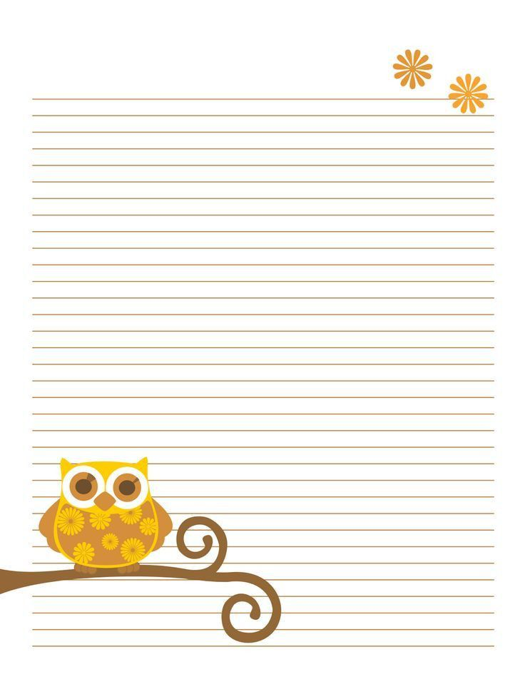 free owl note paper printable | Printable Lined Writing Paper ...