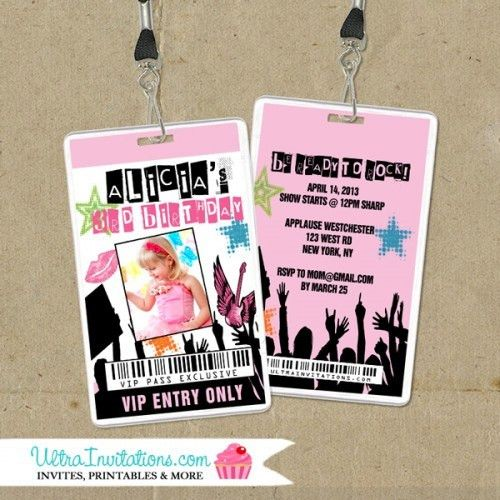 Rockstar Girl VIP Pass Invitations, Backstage Pass Invites