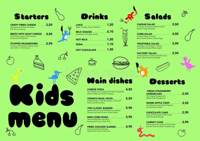 Cute Colorful Meal Kids Menu Template With Cute Little Sweet ...