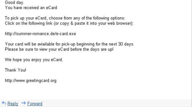Malware Piggybacks on Greeting Card (E-card) Spam | Bill Mullins ...