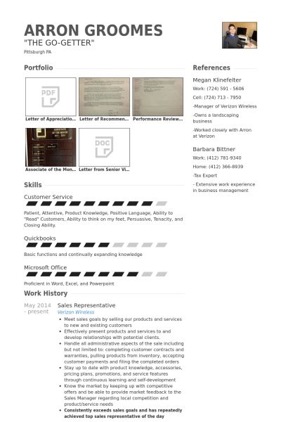 Sales Representative Resume samples - VisualCV resume samples database