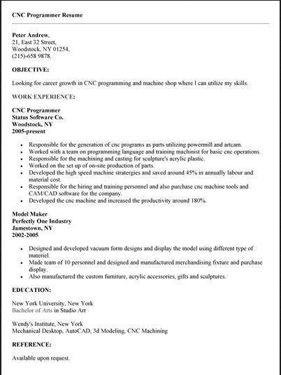 Programmer Resume Template. Cnc Programmer Resume #2083 Cnc ...
