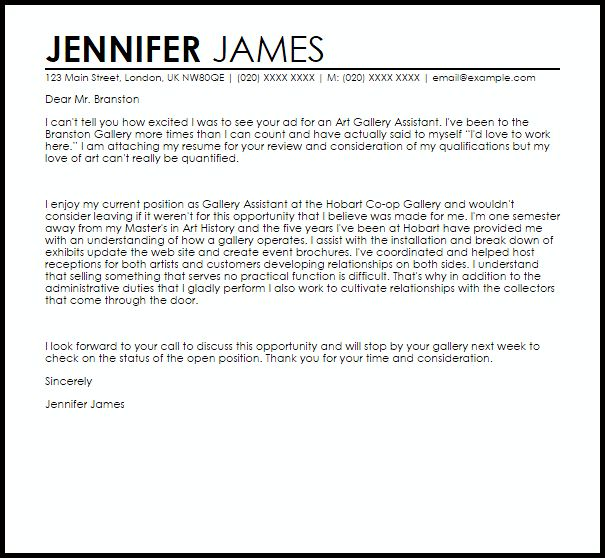 Art Gallery Assistant Cover Letter Sample | LiveCareer