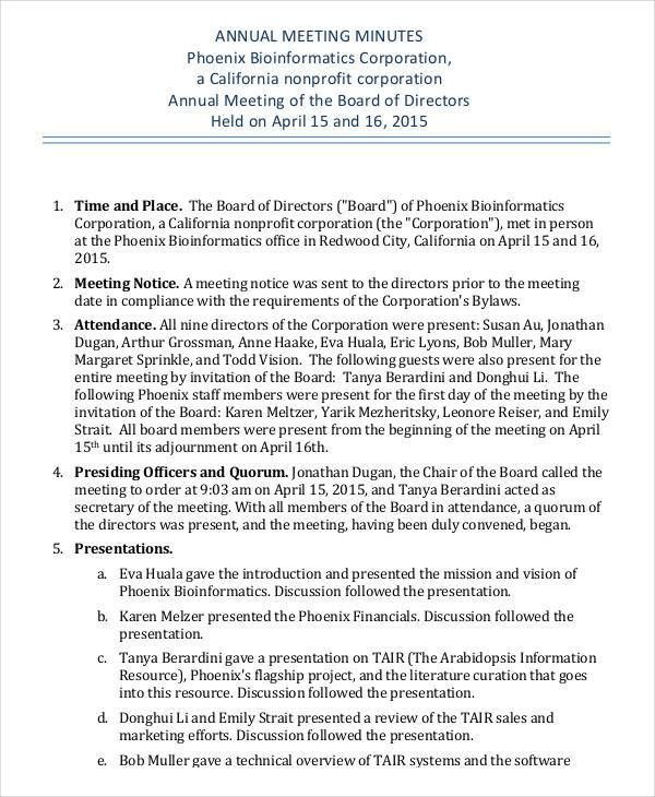 Annual Meeting Minutes Template - 9+ Free PDF Documents Download ...