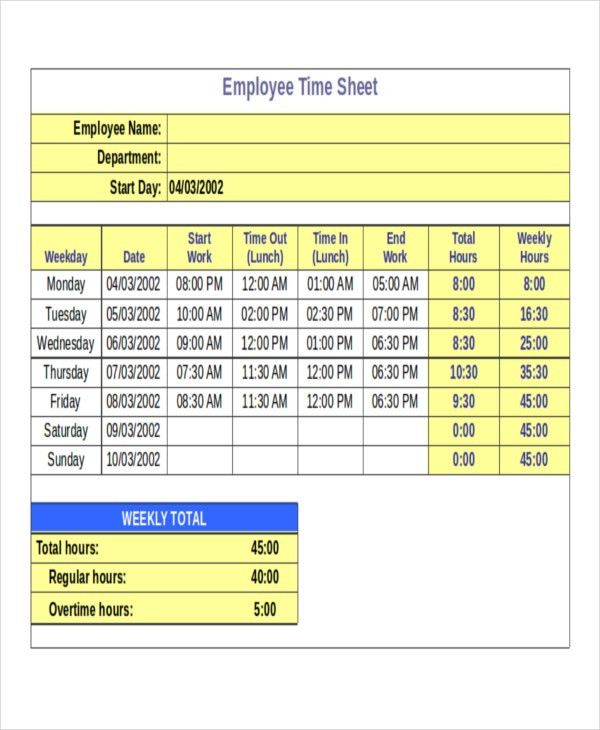 15+ Timesheet Templates - Free Sample, Example, Format | Free ...
