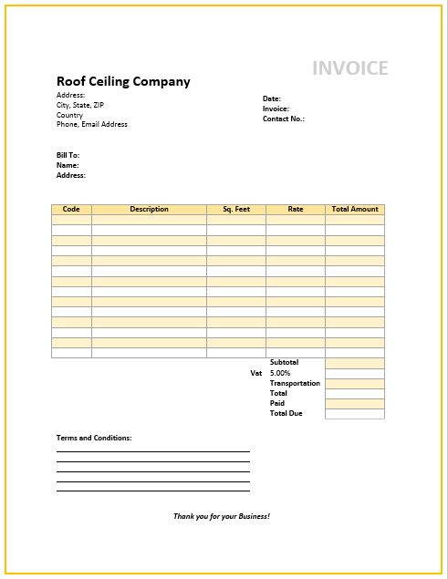 Free Roofing Invoice Template (2) | Popular Sample Templates