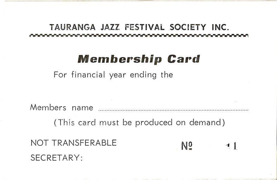 Tauranga Jazz Festival Society Blank Membership Card - Tauranga ...