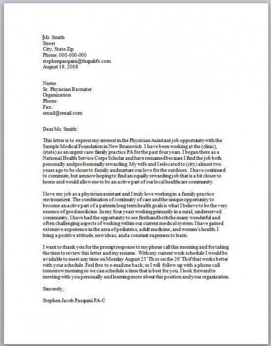 28+ [ Cover Letter For Physician Assistant ] | Best Photos Of ...