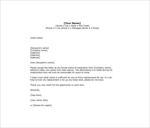 8+ Two Week Notice Resignation Letter Templates - Free Sample ...