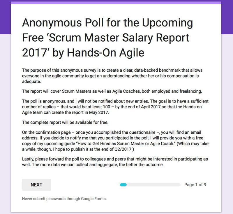 Anonymous Poll 'Scrum Master Salary Report 2017'
