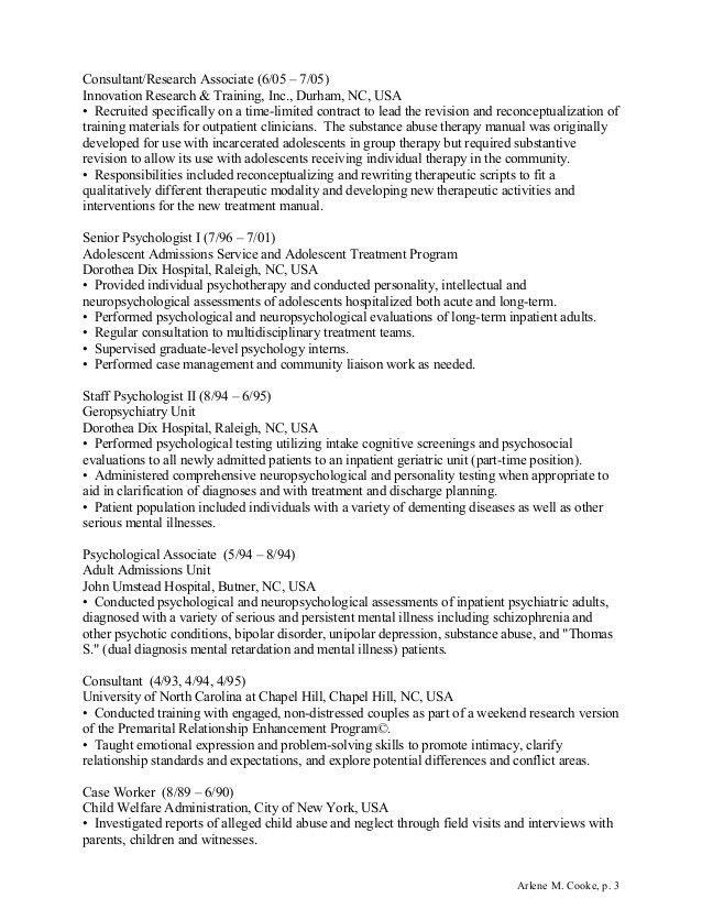Arlene Cooke - Clinical Psychologist CV