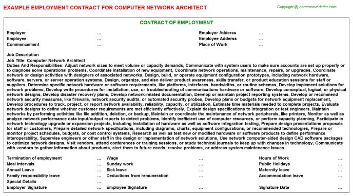 Computer Network Architect Employment Contract