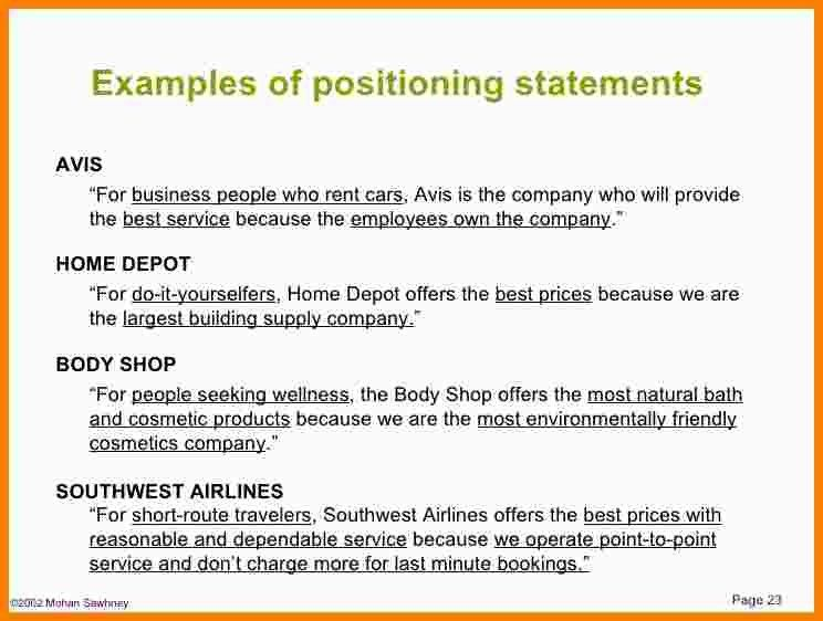 9+ examples of positioning statements | Statement Information