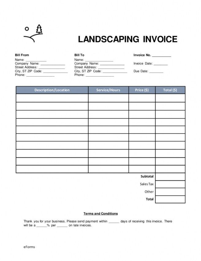 Invoice Template Free Landscaping | Design Invoice Template
