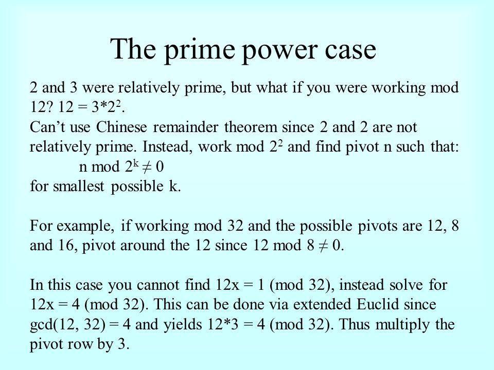 Modular (Remainder) Arithmetic n = qk + r (for some k; r < k) eg ...
