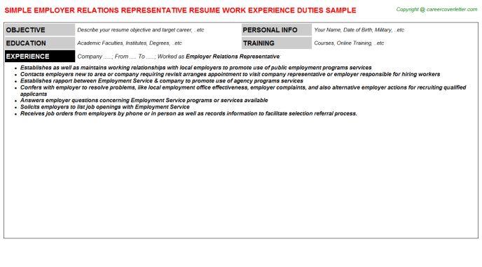 Resident Relations Representative Resumes Samples
