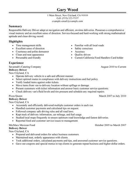Delivery Driver Resume Sample | jennywashere.com