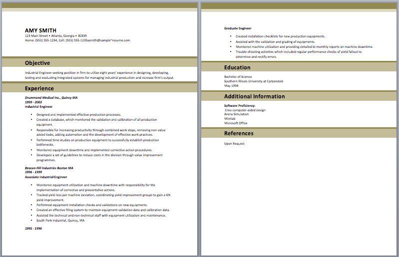 Industrial Engineer Resume - Template Examples