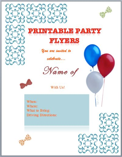 Party Flyer Templates (Printable) | Free Flyer Templates