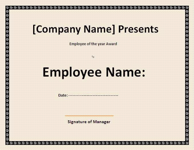 Best Employee Certificate Template | Formsword: Word Templates ...