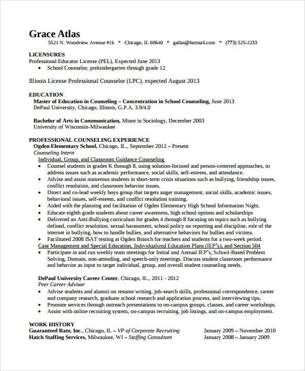 Elementary School Counselor Resume - Best Resume Collection