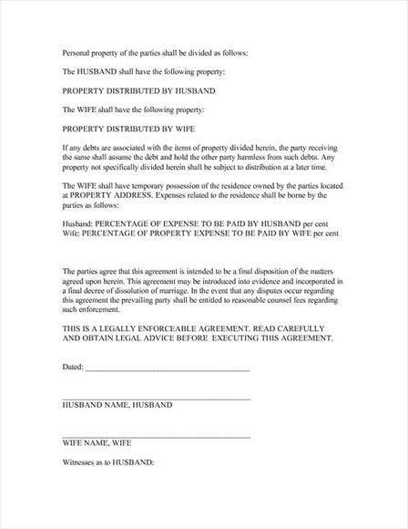 Free legal form: Divorce Agreement
