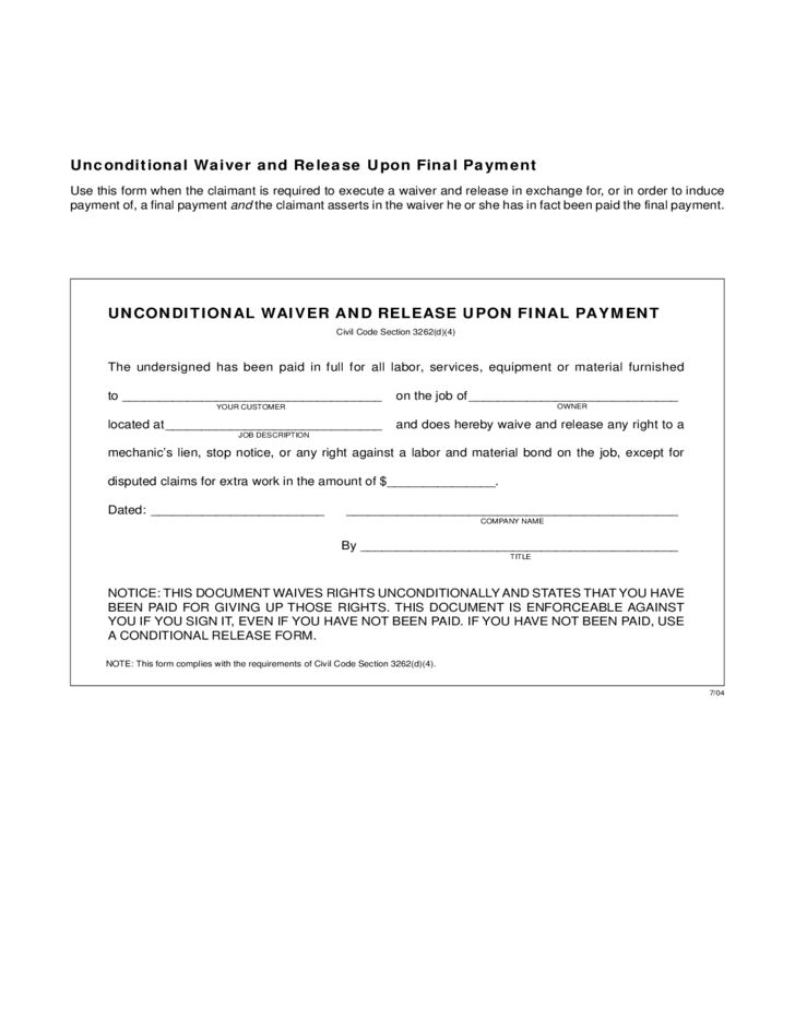 Conditional and Unconditional Waiver and Release Forms Free Download