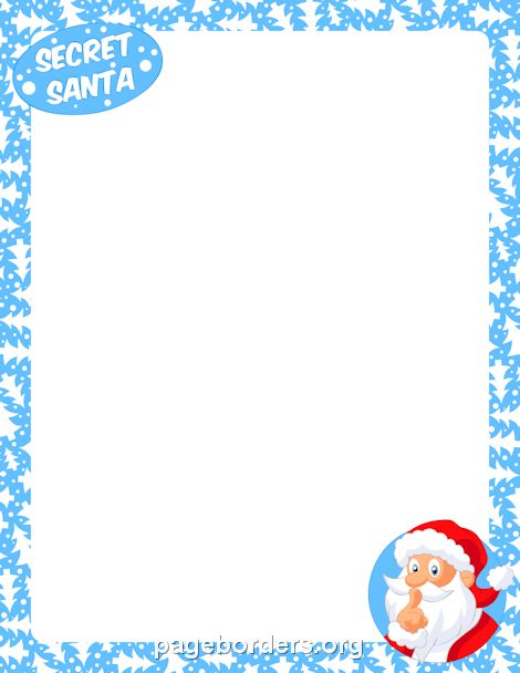 Printable secret Santa border. Use the border in Microsoft Word or ...