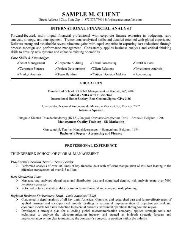 Sample Financial Analysis. Financial Analyst Resume | Sop Proposal ...