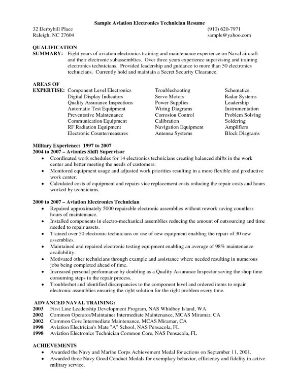 electronic repair technician resume sample cover letter teaching