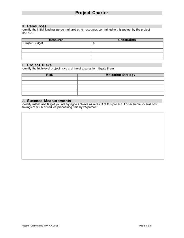 Project charter template