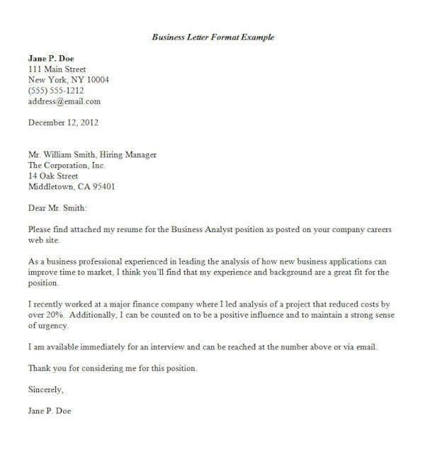 Formal Letters Format. Formal Letter Example Formal Letter Format ...