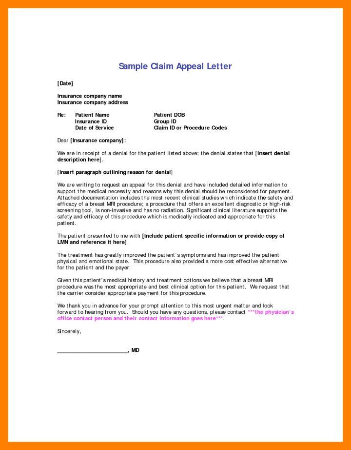 Medical Necessity Appeal Letter Sample | Docoments Ojazlink