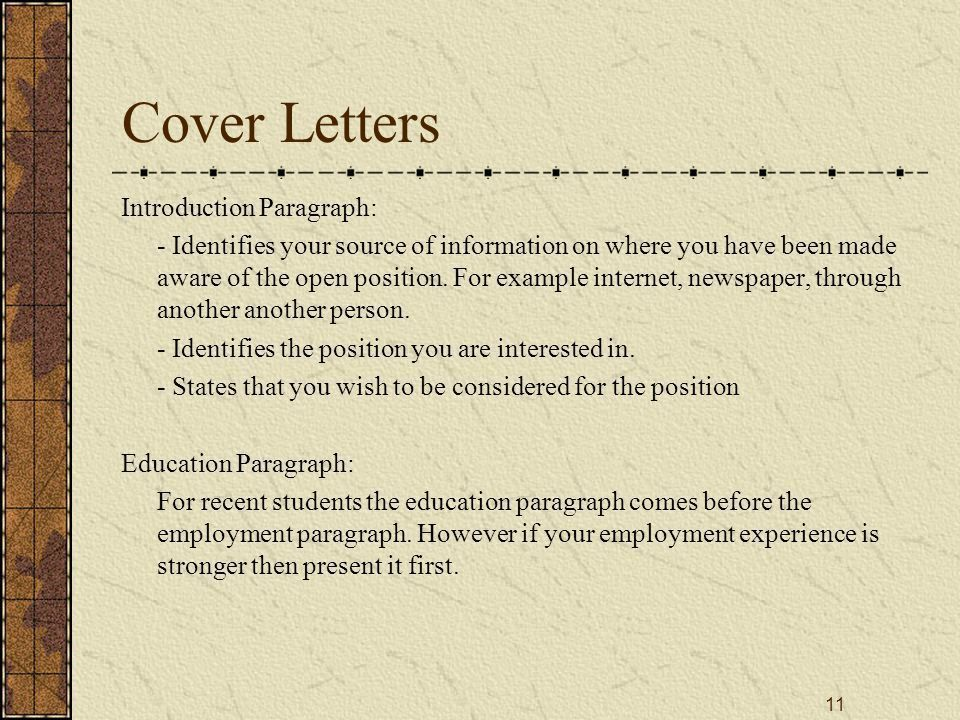 1 Resumes Cover Letters Preparing for an Interview. - ppt download