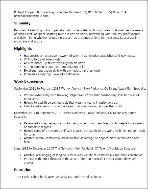 Professional Talent Acquisition Specialist Templates to Showcase ...
